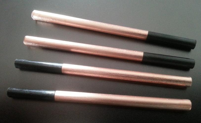 Röhrchen aus Carbon CFK für die Elektroindustrie, partiell verkupfert